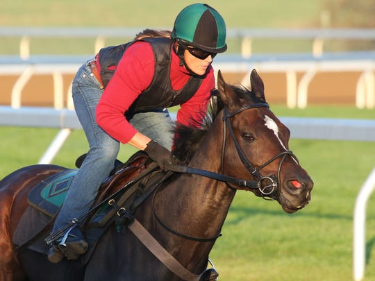 Breeders' Cup Distaff contender Frivolous working recently at Keeneland under trainer Vicki Oliver.