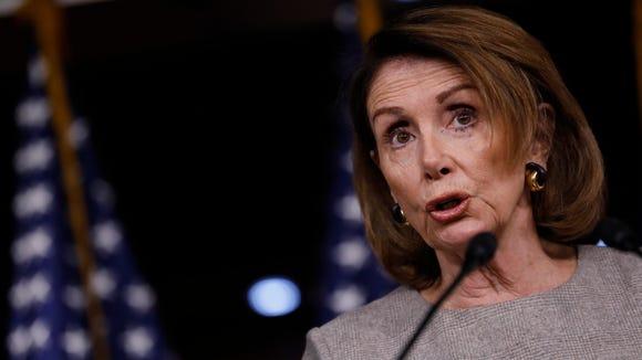 House Minority Leader Nancy Pelosi speaks at her weekly