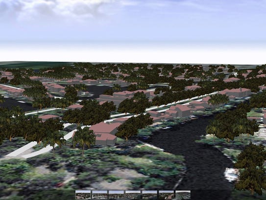 A three-dimensional view of an urban neighborhood in