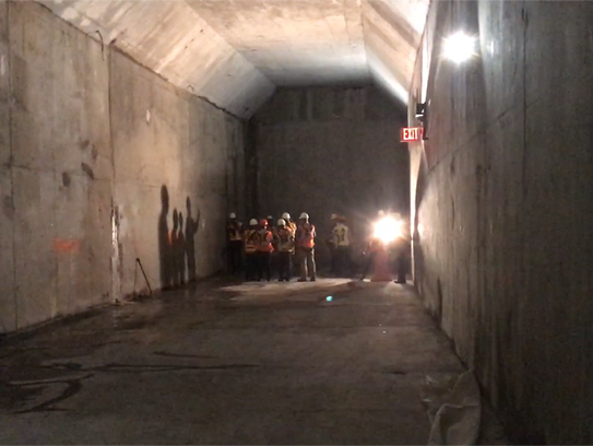 Part of a $235-million, 1,000-foot-long Amtrak connector