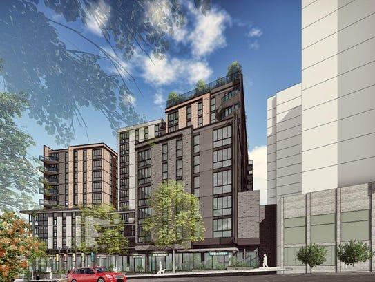 Plans for Hub Plus, an 11-story retail/housing development