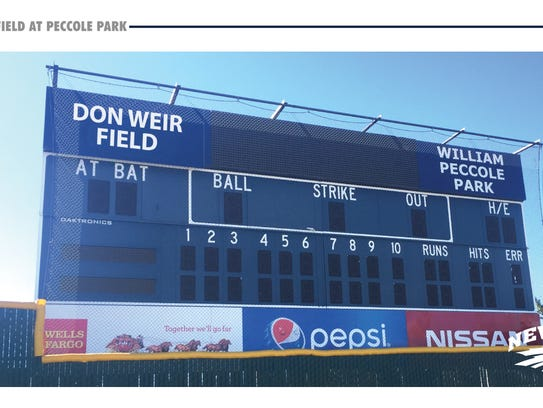 The Peccole Park renovation includes a new scoreboard. This is a conceptual rendering.