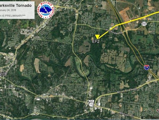 The path of the tornadoes through Montgomery County