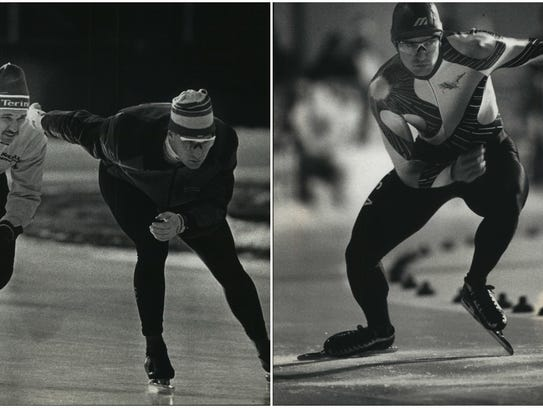 Left photo - Speed skaters Dick (left) and Mike Jansen