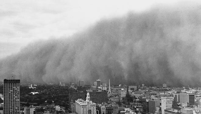 A massive dust storm advances on Melbourne, Australia, in February 1983. The dust storm was due to devastating droughts caused by the extreme El Niño of 1982-83.