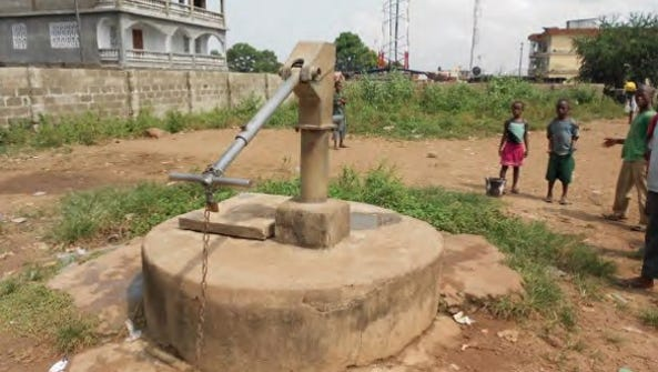 The only existing water well for the Conforti students