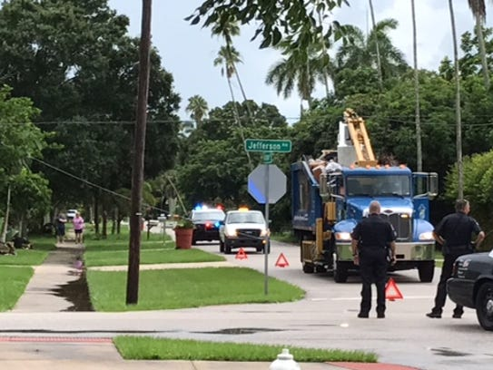 A City of Fort Myers debris truck hit utility lines
