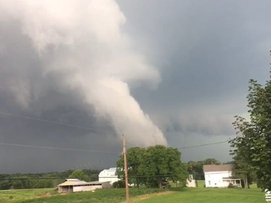 A tornado touched down near Needmore on Friday evening,