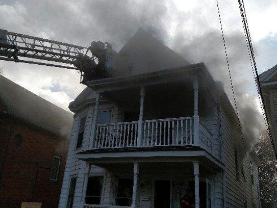 The fire on Mansion Street on Friday.