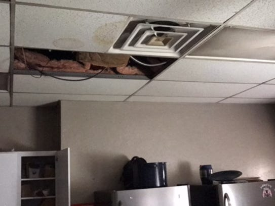 Hurricane irma two lehigh acres fire stations damaged by Leak in ceiling when it rains