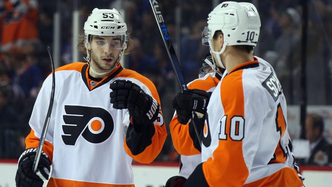 Shayne Gostisbehere, left, and Brayden Schenn are now focused on the Washington Capitals.