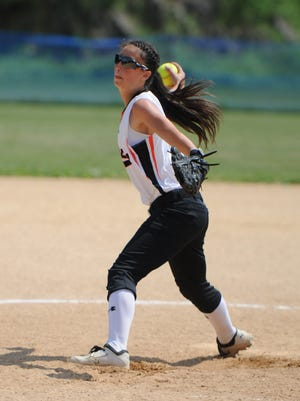 Marlboro's Taylor Felicello pitches during the Section 9 Class B Championship in Rhinebeck last year.