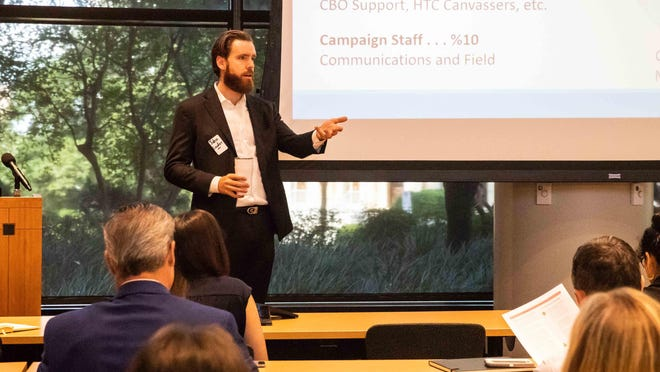 John Lawler, Travis County's census program manager, is shown in September 2019 meeting with government leaders, community groups and demographers to strategize about census outreach.