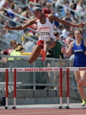 Shanice Cannigan, shown here competing at the Howard Wood Dakota Relays, was named most valuable performer at the Summit League track meet on Saturday.