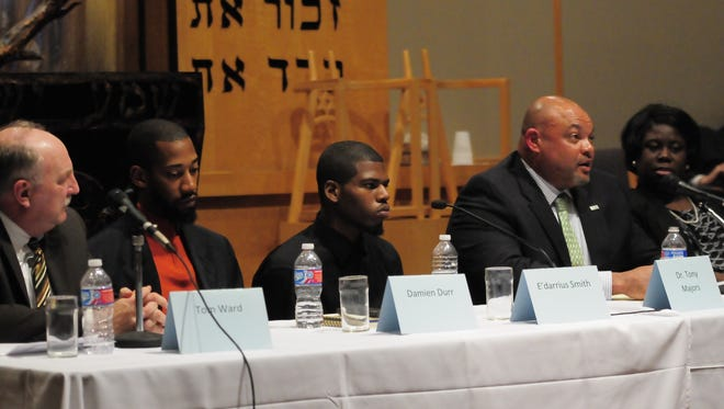 (Left to right) Oasis Center Director Tony Ward, Children's Defense Fund Director Pastor Damien Durr, Pearl Cohn student E'darrius Smith, Nashville Public School's support services department Director Tony Majors and  Juvenile Court Judge Sheila Calloway were on the panel.