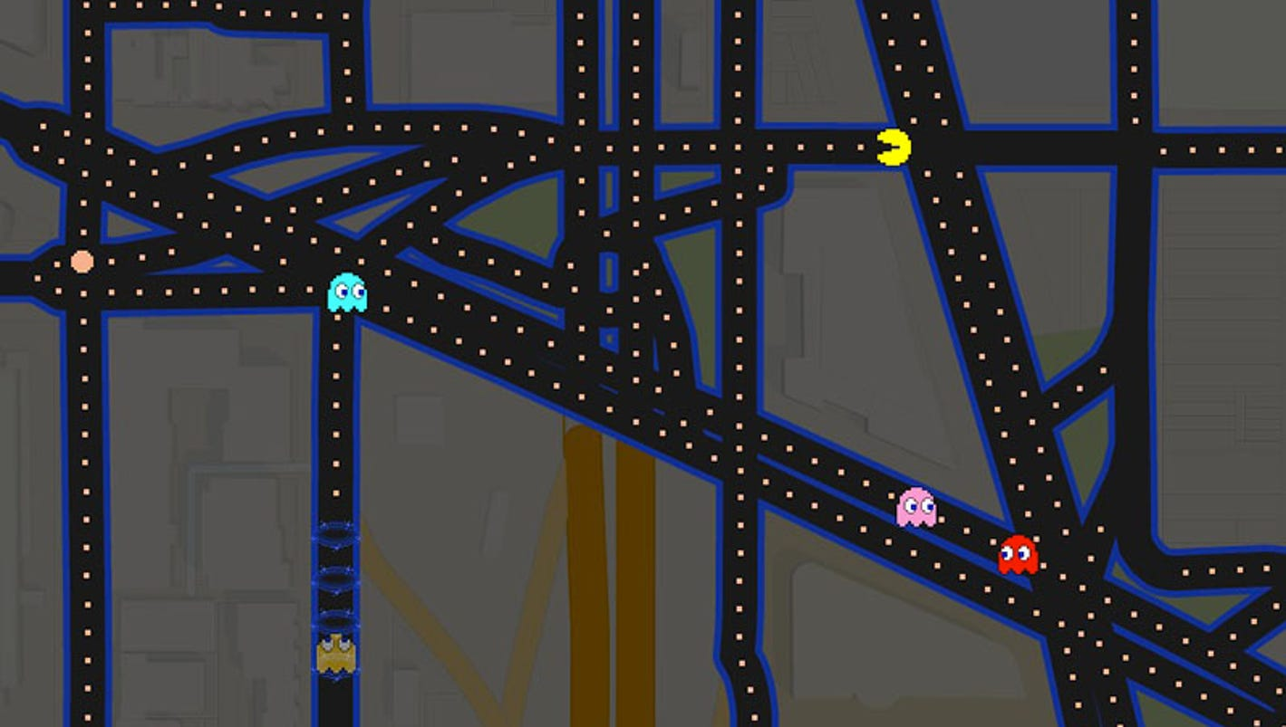 google maps pacman with 70715966 on Ahora Las Calles Son Un Laberinto De Pacman Con Google Maps also Pacman On Google Maps together with Google Brings Memories Pacman Google Maps as well Details in addition Pacman On Google Maps.