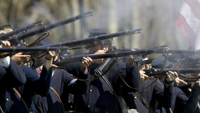 Civil War re-enacters portray Union soldiers in this 2010 file photo from New Jersey.