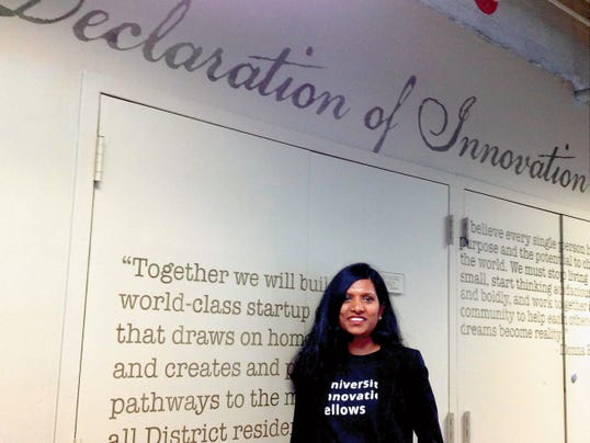 New Mexico State University electrical engineering Ph.D. candidate Shanta Thoutam, who is a University Innovation Fellow, visited the 1776 DC Co-Working Space as part of the first-ever White House Demo Day to encourage innovation and entrepreneurship. (Courtesy photo)