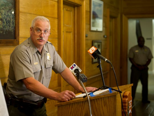 Steve Kloster, chief ranger for the Great Smoky Mountains National Park, answer questions during an August 2017 news conference on the park services search for Austin Bohanan and how he was able survive while lost for 11 days in the Smokies.