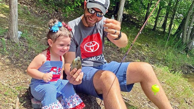 Bassmaster Elite Series pro Brandon Lester fishes with his youngest daughter, Shiloh.