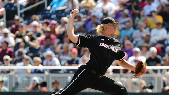 U of L's Sam Bordner (13) delivers a pitch against Texas A&M during Game 3 of the College World Series in Omaha, Neb.  U of L won 8-4.