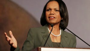Former Secretary of State Condoleezza Rice. Rutgers students are not fans.