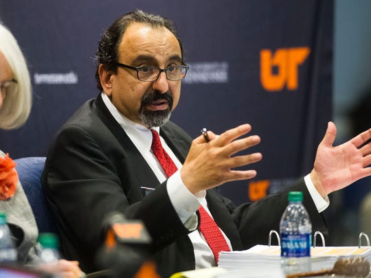 Vice Chair Raja J. Jubran speaks during the annual UT Board of Trustees meeting, where topics such as 2017-2018 tuition rates, a salary increase for President Joe DiPietro, and a plan to award bonuses to other top administrators were discussed, on UT Knoxville's campus Thursday, June 22, 2017.