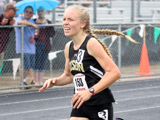 Buffalo Gap's Annika Fisher competes in the Class 2 girls 800-meter run at the VHSL Class 1 & 2 track and field championships at East Rockingham High School in Elkton on Saturday, June 2, 2018.