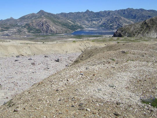 One of the gullies left behind by flows from 1980's Mount St. Helens eruption leads north toward Spirit Lake.