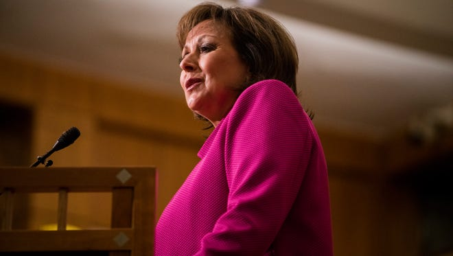 New Mexico Gov. Susana Martinez delivers her State of the State address, Tuesday, Jan. 17, 2017, in Santa Fe, N.M.