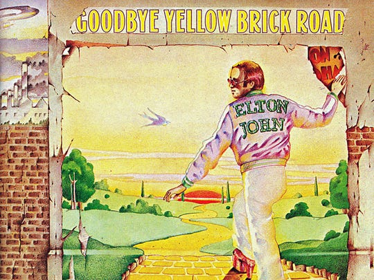 "The cover to Elton John's 1973 album ""Goodbye Yellow Brick Road."""