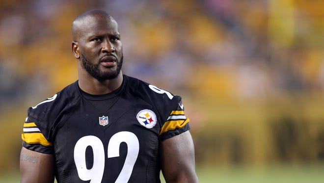 Pittsburgh Steelers outside linebacker James Harrison is in Las Vegas this weekend for an arm-wrestling event.