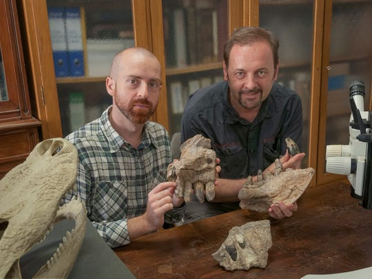 Paleontologists Cristiano Dal Sasso (right) and Simone