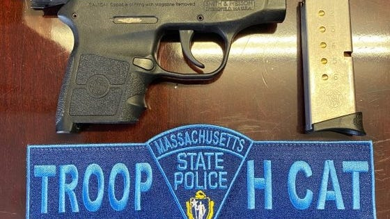 A gun confiscated in an arrest of a Holbrook man.