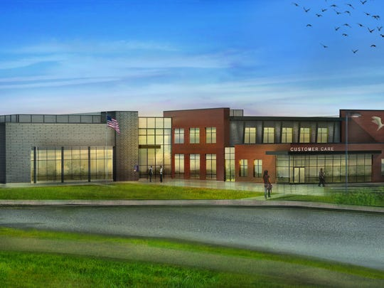 An artist's rendering shows plans for the new Chesapeake Utilities Business Campus being built off Bay Road in Dover, just north of Dover Air Force Base.