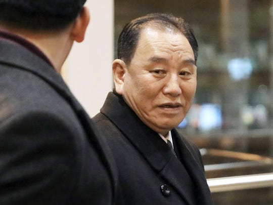North Korean official Kim Yong Chol, right, prepares to leave the Beijing International Airport in Beijing,Jan. 17, 2019. Kim arrived in Beijing on Thursday, reportedly en route to the United States for talks ahead of a possible second summit between President Donald Trump and North Korean leader Kim Jong Un.