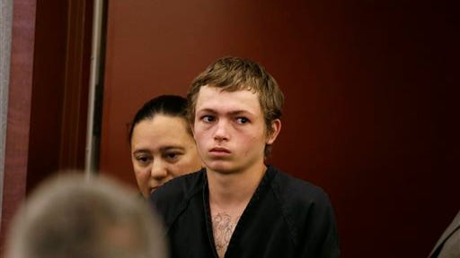 Erich Nowsch Jr. appears in a Las Vegas courtroom for his initial court appearance Monday, Feb. 23, 2015, in Las Vegas. Nowsch remains jailed following his arrest Friday on murder, attempted murder and other charges in the Feb. 12 shooting that fatally wounded 44-year-old Tammy Meyers outside her home. (AP Photo/Isaac Brekken)