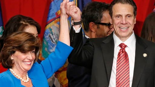 Gov. Andrew Cuomo with Lt. Gov. Kathy Hochul on their Election Night victory in 2014.