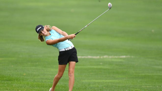 Elaine Grant takes a shot in the Central Illinois Women's Championship. The Illinois Valley Central junior tees off Tuesday in the Class 1A Rock Falls Sectional.