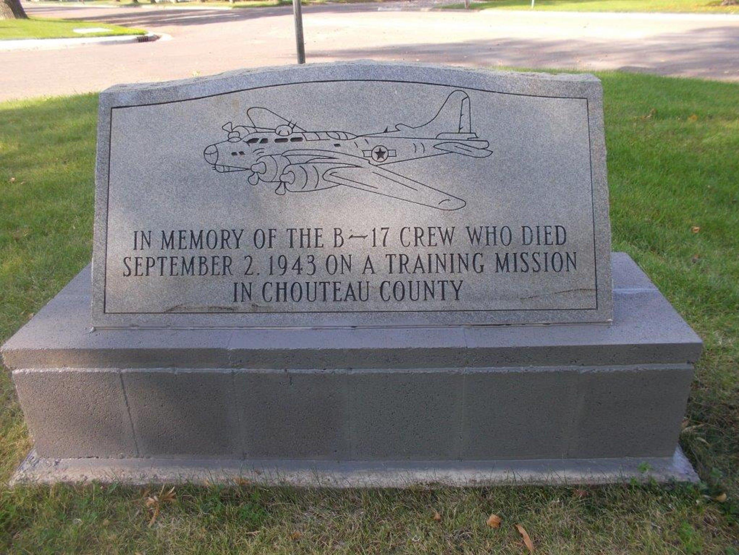 The memorial for the men of Flight 42-5128