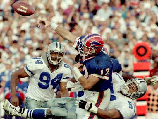 Jim Kelly was knocked out of Super Bowl XXVII with