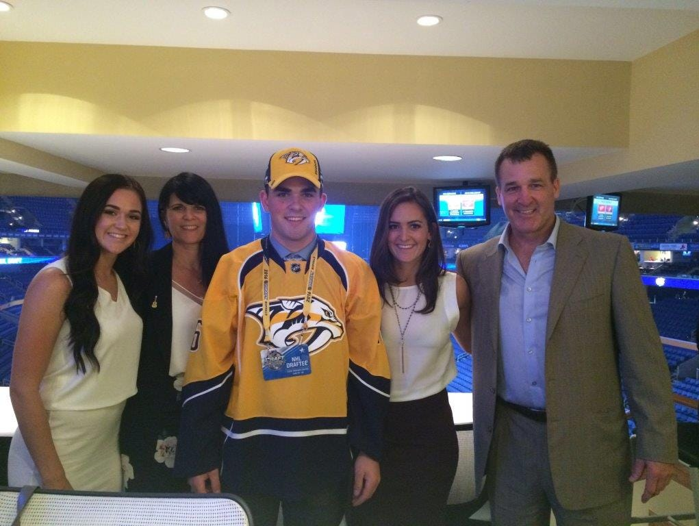 The Fabbros, from left: sister Sophia, mother Tina, Dante, sister Gina, father Stephen at the NHL draft.