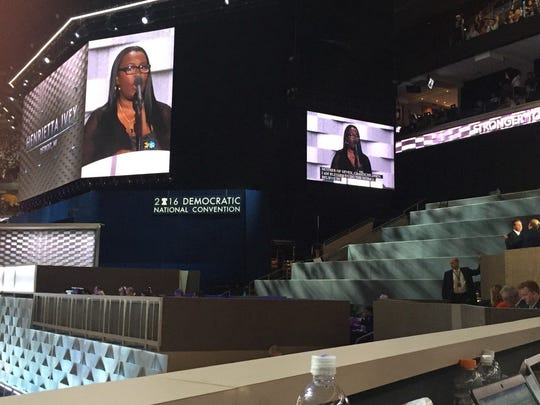 Detroit home care worker Henrietta Ivey speaks July 28, 2016, at the Democratic National Convention in Philadelphia.