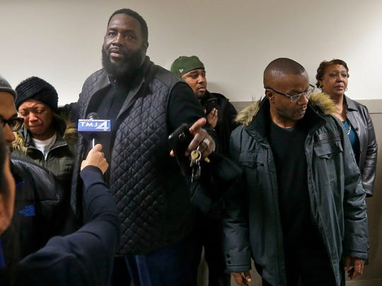 The family of Jay Anderson Jr. who was shot and killed by a Wauwatosa police officer appears upset and disappointed after leaving a meeting with prosecutors on Dec. 5, 2016.