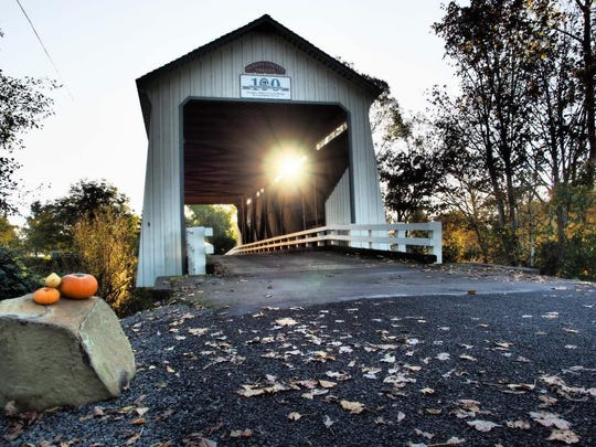 "Anne Marcom, best ""Fall"" photo as part of Marion County's Gallon House Bridge 100-year anniversary photo contest."
