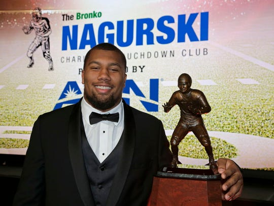 North Carolina State's Bradley Chubb won the the Bronko