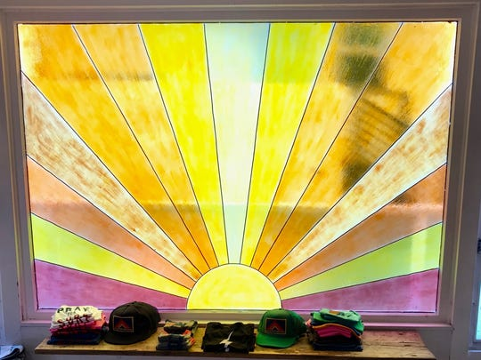 A stained glass window at a shop in Laguna Beach, Calif.