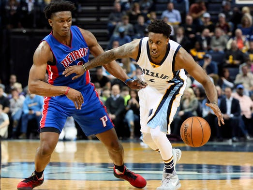 Grizzlies guard Mario Chalmers (6) dribbles as Pistons