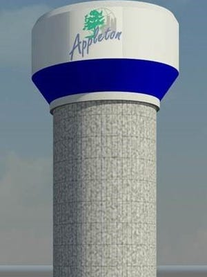 An architectural drawing shows how Appleton's new water tower will look when completed. The city logo won't be on the tower, however.