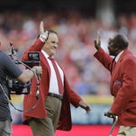 Pete Rose and Joe Morgan are introduced before the MLB All-Star baseball game, Tuesday, July 14, 2015, in Cincinnati.
